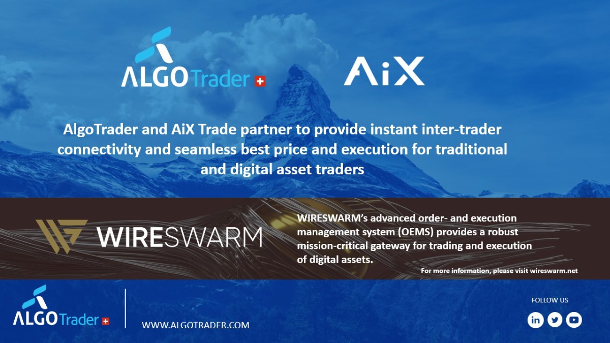 AlgoTrader and AiX Trade Partner to Provide Instant Inter-Trader Connectivity with Best Price and Execution for Traditional & Digital Asset Traders