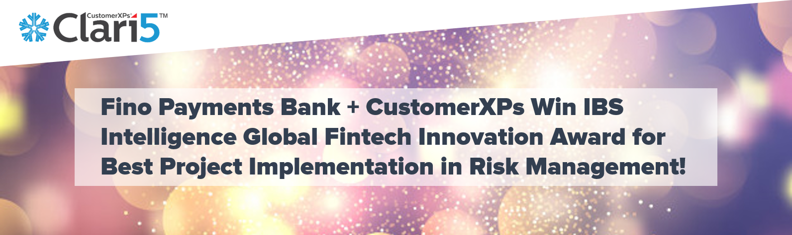 Fino Payments Bank & CustomerXPs Win IBS Intelligence Global Fintech Innovation Award for Best Project Implementation in Risk Management
