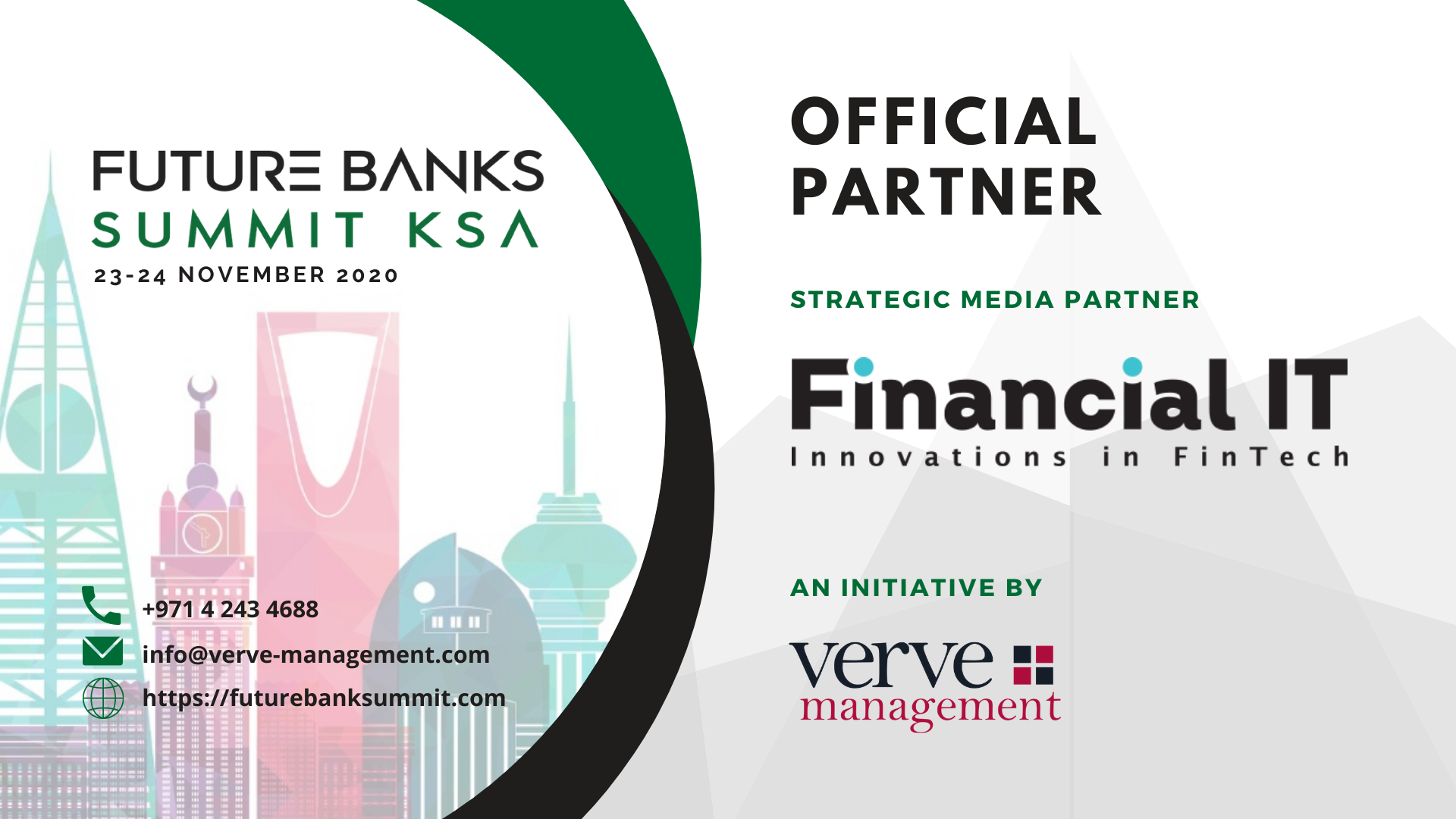 "UAE Based Verve Management to Host ""Future Banks Summit KSA"" on 23-24 November 2020"