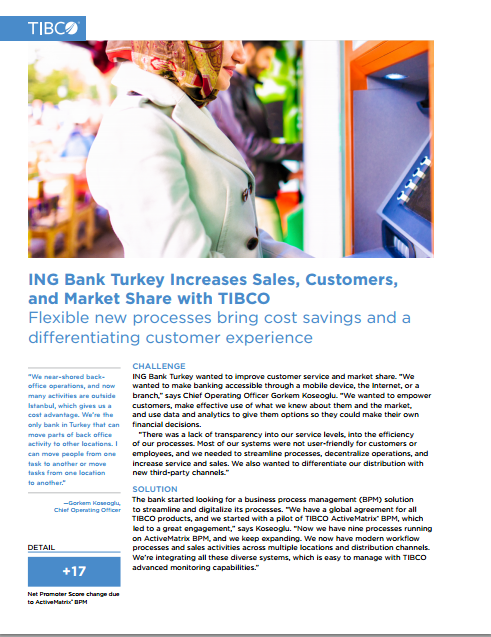 ING Turkey Bank Increases Sales, Customers, and Market Share with TIBCO