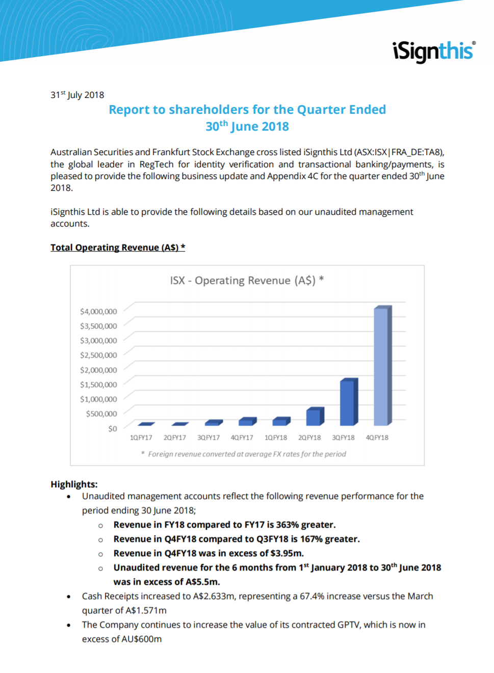 iSignthis Report to shareholders for the Quarter Ended 30th June 2018