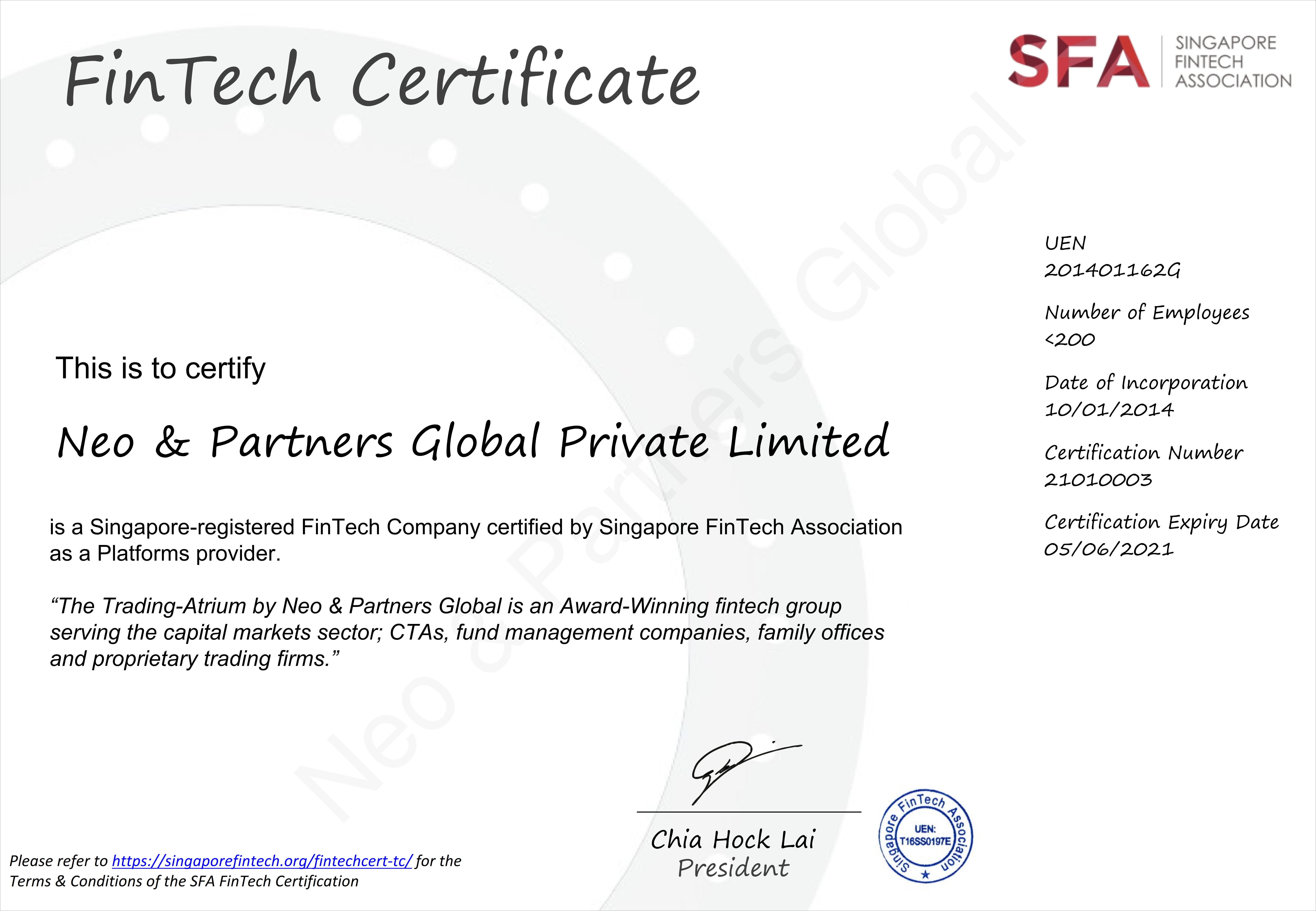 Neo & Partners Global Bags Awarded FinTech Certification, a World's First by the Singapore FinTech Association