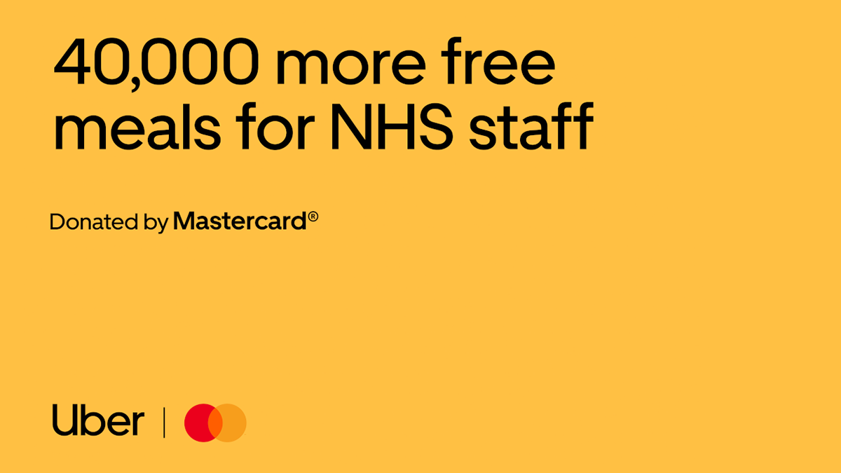 Uber Eats partners with Mastercard to commit an additional 40,000 meals for NHS staff